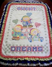 "Handcrafted Quilted & X Stitched ""SWEET DREAMS CLOWNS"" Baby Quilt Crib B... - $159.99"