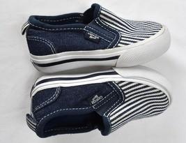Oshkosh Unisex Toddler Slip on Shoes Size 5M Navy Denim Striped Vans Style - $14.80