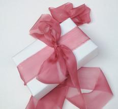 Silk Chiffon ribbon, Rose, hand-dyed silk ribbon - $11.10+