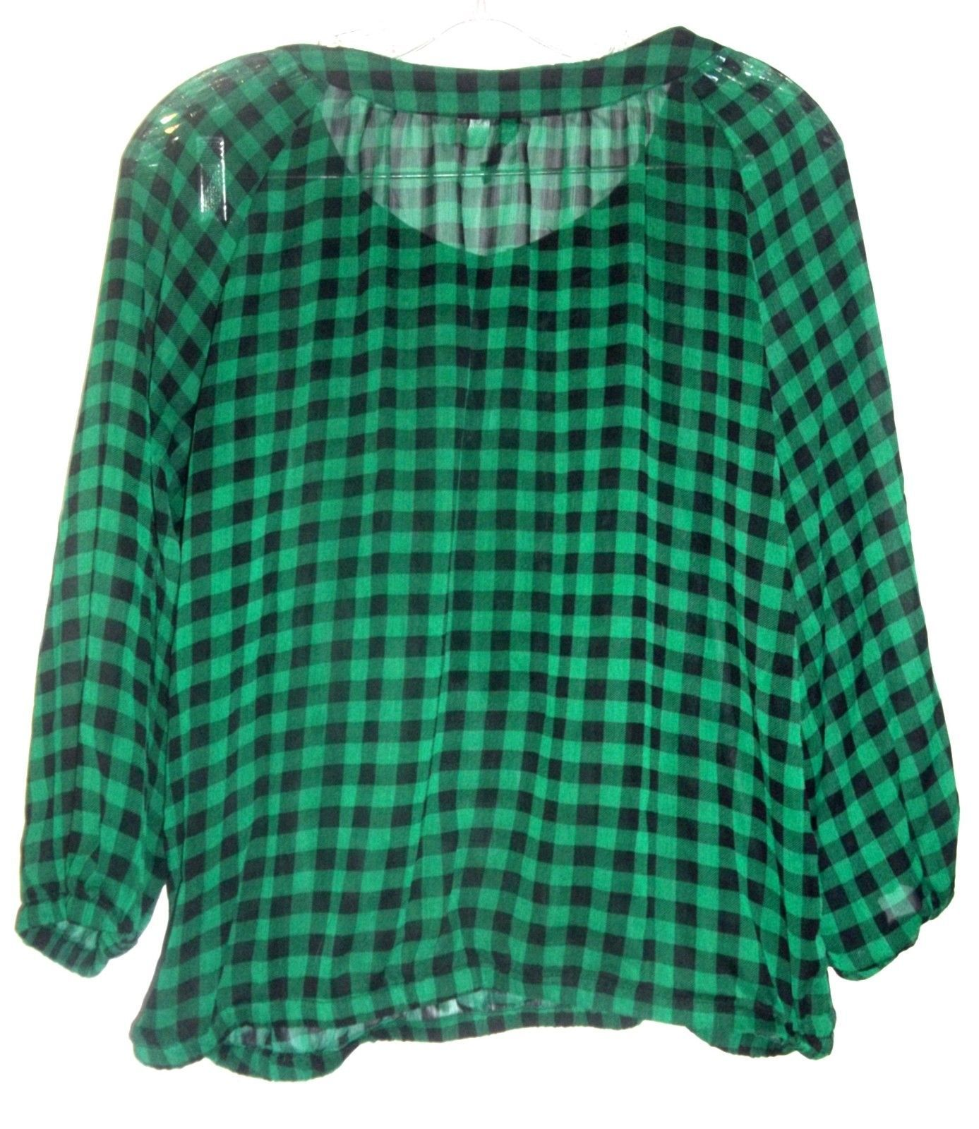 Green and Black Checkered Plaid Top Sheer Long Sleeve Top by Divided H&M Sz 10