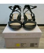 "JIMMY CHOO Black Leather ""Margo"" Crisscross 40mm Sandals - Size 37.5 - $249.99"