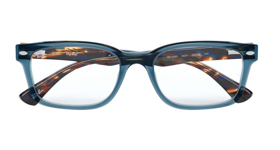 Unisex Ray Ban RX5286 8024 Rectangle Eyeglass Frame - Blue, 51mm image 3