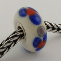 Authentic Trollbeads Ooak Murano Glass Unique White W/ Flower Bead Charm, New - $33.24