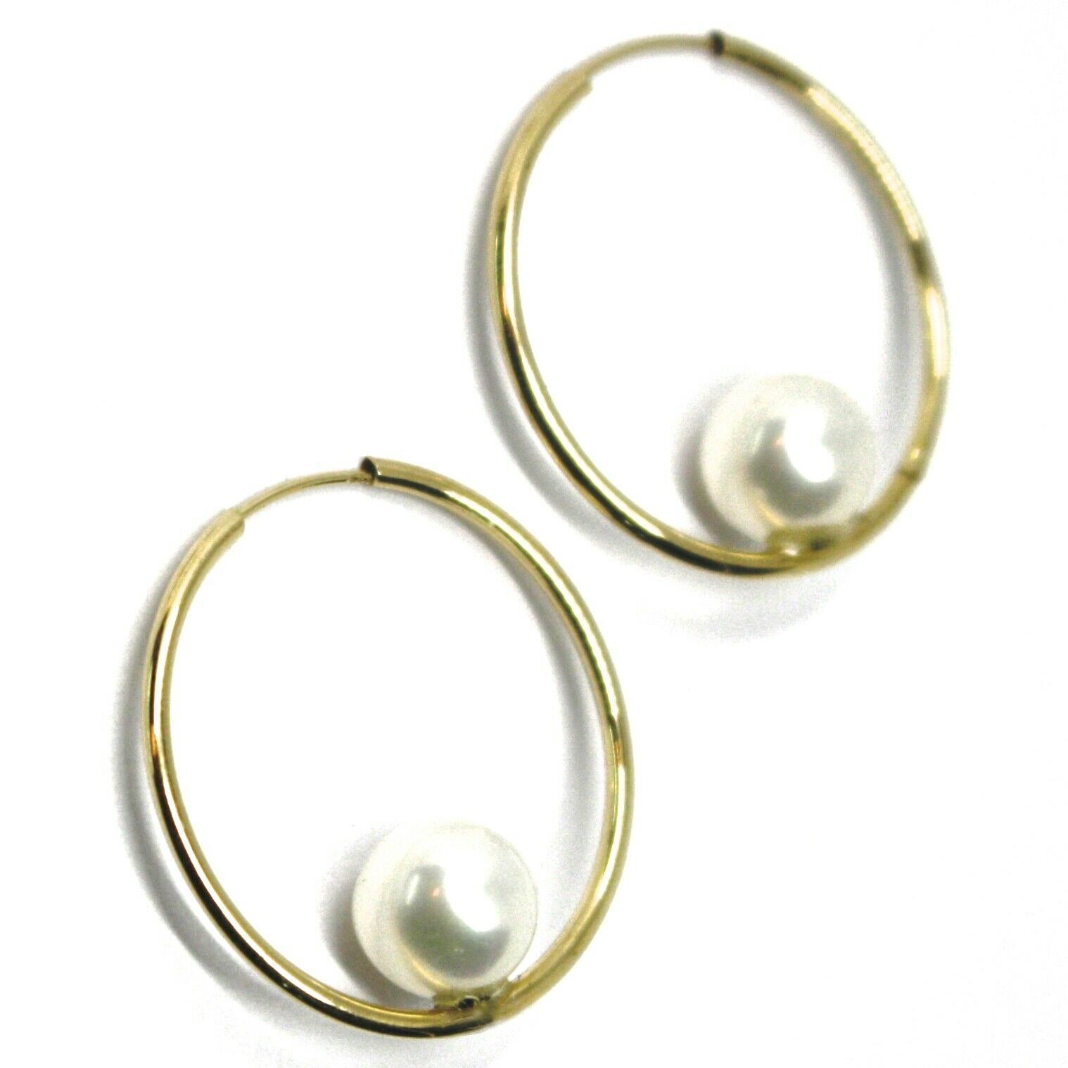 18K YELLOW GOLD CIRCLE HOOPS EARRINGS, TUBE 1mm, DIAMETER 2.5cm, HANGING PEARL