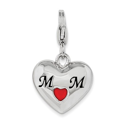 .925 Sterling Silver Enameled Heart Mom with Lobster Clasp Charm w Lobster
