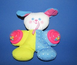 Fisher Price Vintage Puppy Dog Rattle Plush Blue dot Yellow pink ears 19... - $9.89