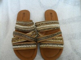 Ladies caramel strapy sandals w/pearls & sequin from White Mountain size... - $15.99