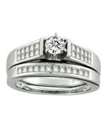 14k White Gold 1.02ct Diamond Bridal Wedding Engagement Ring Set Size 7 - $961.54
