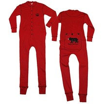 Lazy One Adult Pajama's Pjs Red Bear Bottom Fla... - $42.06