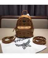 Authentic Mcm Suprer Mini Stark Side Studs Bebe Boo Backpack in Visetos ... - $455.00