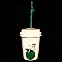 Starbucks 2015 Christmas Holiday Ornament Boy Swinging Green Ornament To Go Cup - $18.99