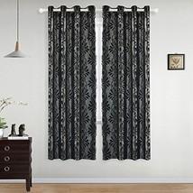 NAPEARL Curtain Panel Jacquard Semi-Blackout Grommet Home Drape Living Room Blac