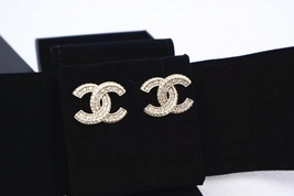 SALE* AUTHENTIC CHANEL NEW XL CC CRYSTAL STAL LOGO GOLD DANGLE DROP EARRINGS