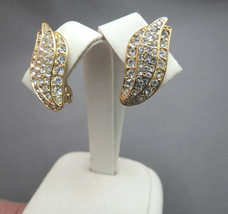 """Monet Clip On Rhinestone Earrings Luxury Gold Plated Finish 1"""" High Excellent - $17.81"""