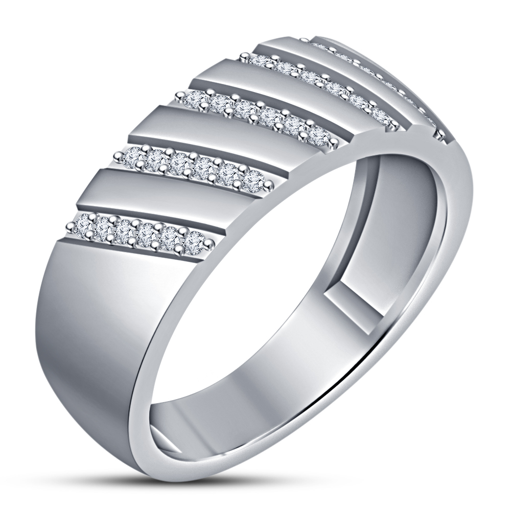 Primary image for White Gold Finish 925 Silver Mens Diamond Round Cut Top Fashion Pinky Band Ring