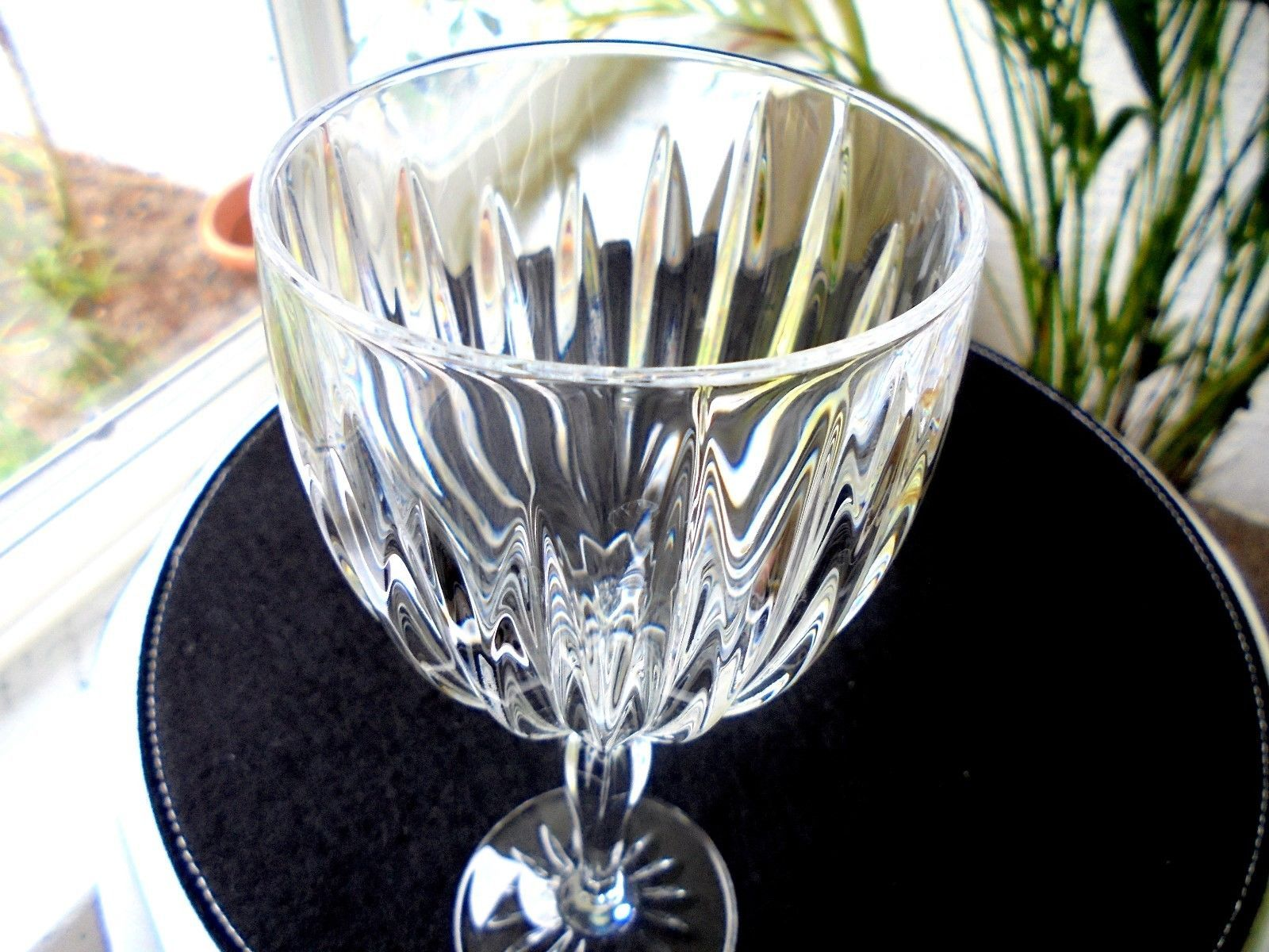 "Set of 4 Cris D'Arques Classic Pattern Clear Crystal Water Goblets 8 1/2"" Tall"