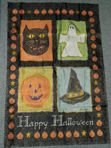 Mary Hughes Happy Halloween Flag 4 Blocks Cat Pumpkin Ghost Witch Hat - $14.84