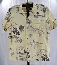 Royal Creations Hawaiian Shirt SS Ivory XL USA Hawaiian Island Maps - $45.49
