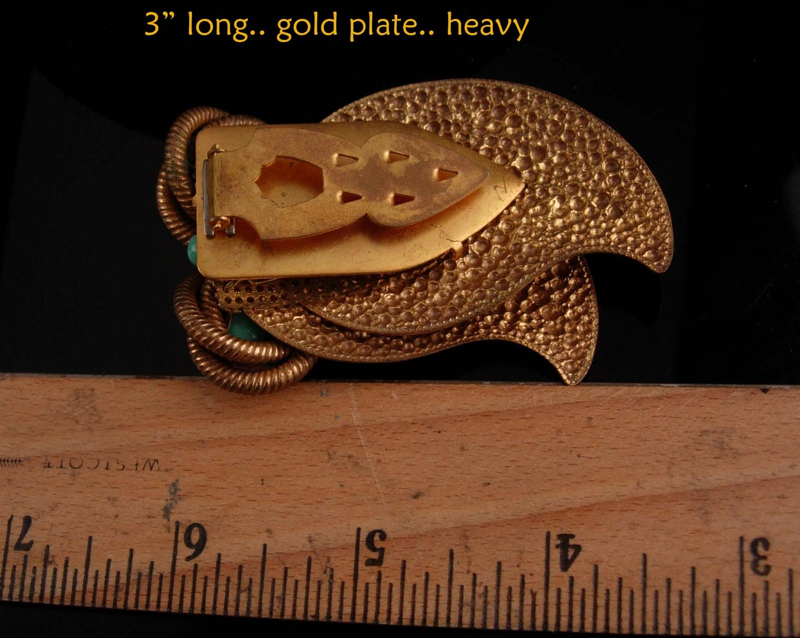 """Huge 3"""" Owl dress clip - vintage Bird fur clip - Figural jewelry - big eyed image 3"""