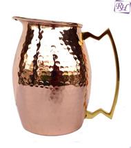 Benefit yoga Healing Home kitchen water pot Copper Jug hammered Ayurveda... - $62.27