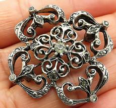 Bp2529 Vintage Squares Of Multi-gemstone Brooch Pin 925 Sterling Silver