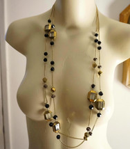 Sale Vintage Indie Boho French Jet Faceted Bronze Crystal Chain Necklace - $30.00