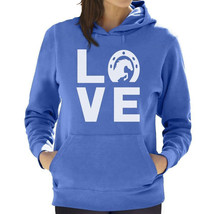 Horse Lover Hoodie California Blue Horseshoe Horse Rearing Size L Heavy Blend - $29.00