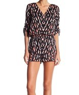 1.State NEW Black Womens Size Medium M V-Neck Printed Roll-Tab Romper $129  - £29.67 GBP