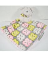 Blankets & Beyond GRAY TEDDY BEAR Pink Yellow RASCHEL LOVEY SECURITY BLA... - $19.79