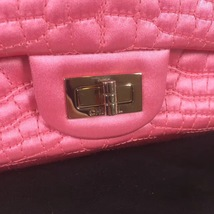 Authentic Chanel Classic 2.55 Reissue Mini Double Flap Bag Pink Silk GHW image 12