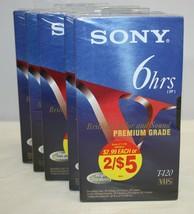 Lot of 5 Sony VHS T-120 Cassette Tapes Premium Grade NEW - $19.79
