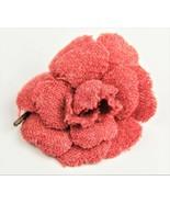 ESTATE VINTAGE Jewelry CHANEL ICONIC BRICK RED TWEED CAMELLIA FLOWER BRO... - $425.00