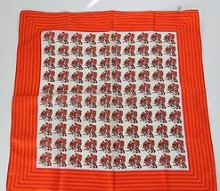 Vintage 1960s Scarf Hockey Players Red Orange Polyester Japan - $23.33