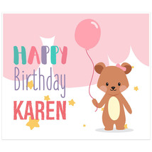 Pink Teddy Bear With Balloon Personalized Birthday Banner - $38.12