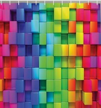 Colorful Rainbow Rectangle Tiles Fabric Shower Curtain Mosaic 3D Effect ... - $19.59