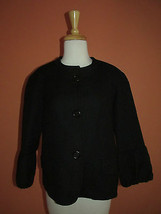 Talbots Size 8 Black Textured Wool Blend 3/4 Bell Ruffle Sleeve Jacket B... - $37.50
