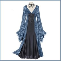 Renassiance Blue Sheer Layered Lace Brocade Long Sleeves Giornea Overdr... - $116.95