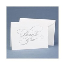 Wedding Thank You Cards Silver Foil Embossed Thank you Notes Pack of 50 - $21.38