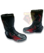 DAINESE BLACK AND RED WATERPROOF COWHIDE LEATHER MOTORCYCLE RACE TRACK BOOTS - $229.99
