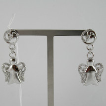 925 RODIUM SILVER EARRINGS ANGELS PENDANT MADE IN ITALY ROBERTO GIANNOTTI GIA92 image 1