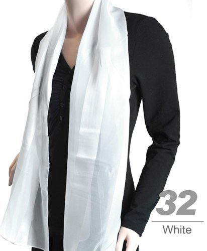 Women's White Striped Sheer Polyester Satin Scarf SPS1301