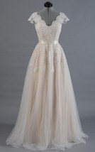 Cap Sleeve V-Neck Lace Wedding Dress With Tulle Skirt and V-Back - $132.80