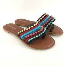 Top Moda Womens Sandals Toe Strap Fringe Beaded Boho Colorful Size 8 - £17.39 GBP