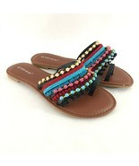 Top Moda Womens Sandals Toe Strap Fringe Beaded Boho Colorful Size 8 - $24.18