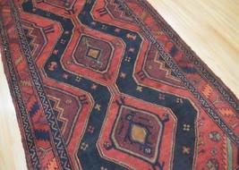 4'3x9'5 Geometric Genuine S Antique Persian Tribal Bijar Handmade Wool A... - $494.01