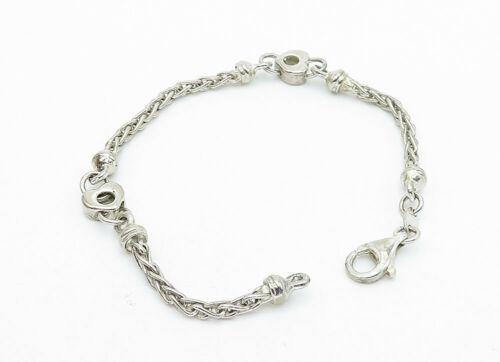 925 Sterling Silver - Vintage Petite Love Heart Link Chain Bracelet - B5775