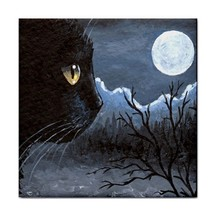 Ceramic Tile or Framed tile black Cat 534 moon from art painting L.Dumas - $18.99+