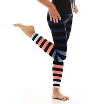 K-Deer Kids Blue/Coral/White Molly Stripe Athletic Leggings image 2