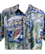 Cooke Street Inversa Stampa XL Tribale Mare Turtles Verde Blu Camicia Ha... - $31.18