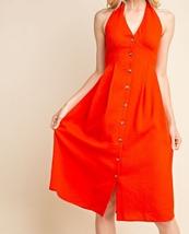 Red Halter Top Dress, Red Button Up Dress, Halter Top Dress, Womens image 1
